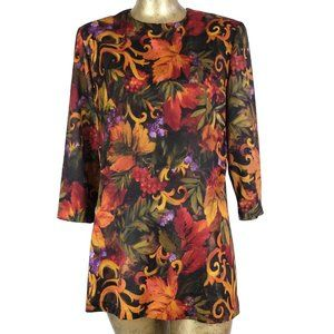 70s Autumnal Abstract Floral 3/4 Sleeve Blouse